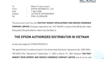 Tân Phát chính thức là nhà phân phối EPSON tại Việt Nam