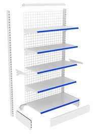 Kệ siêu thị áp tường (kệ nối tiếp) viền màu xanh 4 tầng
