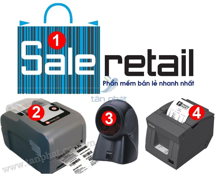 COMBO-4a: Máy quét mã vạch Honeywell MS7120, Epson TM-T82, Datamax 4204, Phần mềm bán hàng