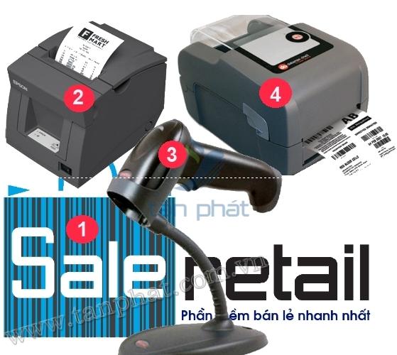 COMBO-4c: máy quét mã vạch Honeywell 1250G, Máy in hóa đơn EPSON T82, Máy in mã vạch Datamax E4204b Mark III, Phần mềm bán hàng