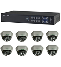 Bộ sản phẩm 8CAM+1A: gồm 8 Camera KCA-5842+ 1 Đầu ghi Deeplet DE1508